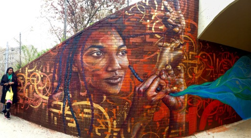 Queens, NY 2016: Joel's portrait of his wife, part of a community youth mural project in partnership the Department of Transportation and St. Gregory School.