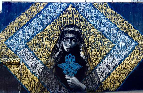 Brooklyn, NY 2015: Collabo with Brooklyn-based Moroccan artist Rocko, who specializes in Arabic calligraphy. This piece was inspired by the photography of Barron Claiborne.