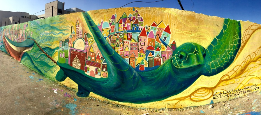 Jizr Az Zarqa, Arab Village in Israel, 2016: An environmental mural featuring an endangered sea turtle that is common in this fishing village.
