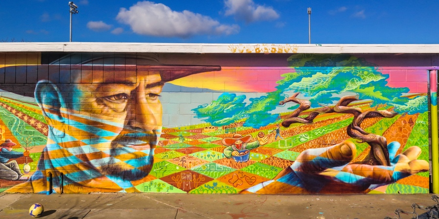 Planada, California 2016: A mural that celebrates Alex, a local hero, pays homage to the campesino and to the rural, mainly Mexican population of this region.