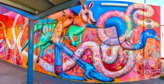 Central Desert, Australia 2017: Mural in Alice Springs created with local youth and Max Frieder