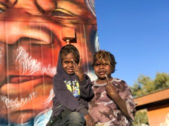 Central Desert, Australia 2017: child artists in a town camp.