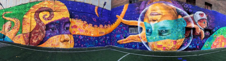 St. Petersburg, Russia 2017: Joel worked with kids who had experienced the street life and chaotic family lives, creating a mural with a sci-fi, surrealistic vibe. With Park Inn by Radisson hotels and local youth organizations.