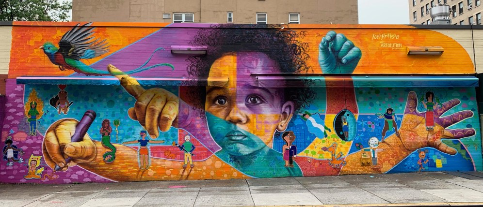 "East Village, New York City, 2019: Joel worked with Central American youth to create characters that ""come to life"" via Augmented Reality, telling the stories of the participants. Partners: Artolution, KIND (Kids in Need of Defense), We Are Royale, Key Food Supermarket, Education Alliance"