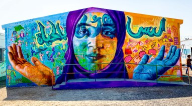"Azraq Syrian Refugee Camp, Jordan 2019: ""There is Still Hope in Life"" collabo with Seddeq Ghoush, the Syrian Artolution artist team and local children. Parters: Artolution and UNICEF"